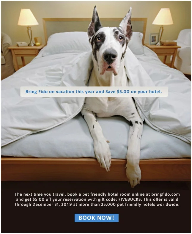 $5.00 off any Pet Friendly Hotel